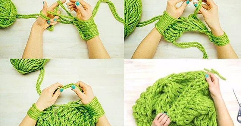Вязание шарфов руками без спиц и крючков